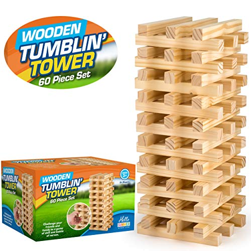 Hello Summer HS010 Giant Jumbo Wooden Blocks Outdoor Family Tumble Tower Garden Game, Wood