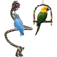 Bird Swing Toy, spirale corda elastica per pesce persico pura naturale colorato pappagallo Swing giocattoli in legno con campana per parrocchetti Cockatiels, Conures, pappagalli, pappagalli, Love Birds, fringuelli (2pezzi)