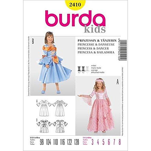 Tänzerinnen Kostüm Karneval - Burda 2410 Schnittmuster Kostüm Fasching Karneval Prinzessin Tänzerin (Kids, Gr. 98-128) - Level 3 mittel