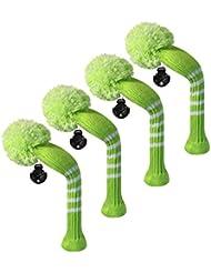 Scott Edward Housses de tête de club de golf hybride/utilitaires, 4 pièces emballées, rayures en tricot, fil Acrylique Double-layers en tricot, avec rotatif Nombre Tags, 9 couleurs en option, Vert citron