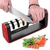 [2019 Upgrade] Kitchen Knife Sharpener,Manual 3-Stage Knife Sharpening Tool,with Anti Slip Bas,Geramic Rod,Diamond Rod,Tungsten Steel Blade,Restore and Polish Blades,for Straight Blade Kitchen Knives