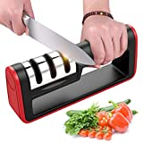 BYETOO Kitchen Knife Sharpener, Manual 3-Stage Knife Sharpening Tool, With Anti Slip Bas