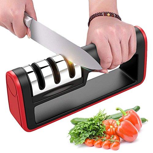 BYETOO Afilador de Cuchillos de Cocina, Herramienta Manual de Afilado de Cuchillas de 3...
