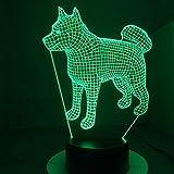 2 PACCHETTO, Americano Giapponese Akita Samoiedo Cane Husky Lampada 3d 7 Colori Che Cambiano Lampada Da Tavolo Novità Led Night Lights Led Lightping