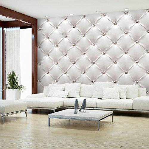 *decomonkey | Fototapete Leder weiß grau Deluxe 400×280 cm XXL | Design Tapete | Fototapeten | Tapeten | Wandtapete | moderne Wanddeko | Wand Dekoration Schlafzimmer Wohnzimmer | FOB0149a84XL*