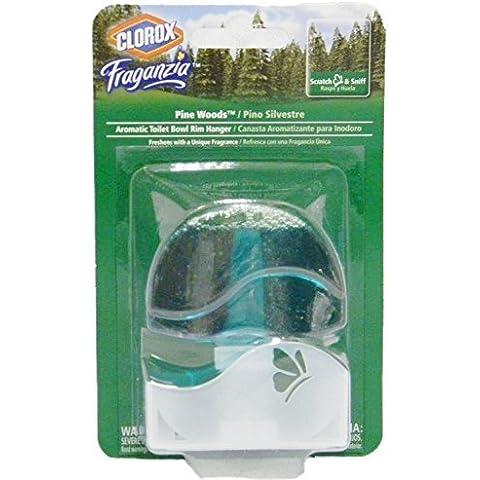 Clorox Fraganzia Pine Wood Aromatic Toilet Bowl Rim Hanger, 1.85 Ounces by Clorox