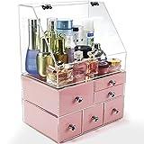 NewCrea Clear Box organizzatore Organizer, Trucco, Cosmetici Caso di Trucco per Donne con 1Top 6cassetti, 3777