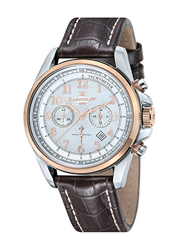 Thomas Earnshaw - ES-8028-09 - Commodore - Montre Homme - Quartz Chronographe - Cadran Blanc - Bracelet Cuir Marron