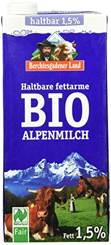 Preisvergleich Produktbild Berchtesgadener Land Bio Haltbare Bio-Alpenmilch, 1.5% Fett,  12er Pack (12 x 1 l)