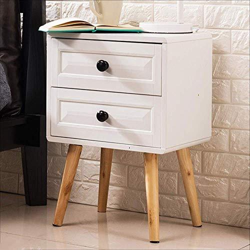 YueQiSong Nachttisch aus Holz/Schreibtisch Schrank 2 Schubladen Wohnmöbel Ablage Podest Nachttisch Geeignet für Alle Arbeitsplätze, Weiß