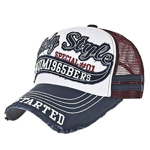 WITHMOONS Casquette de Baseball Vintage Baseball Cap Meshed Distressed Trucker Hat KR1251 (Navy)