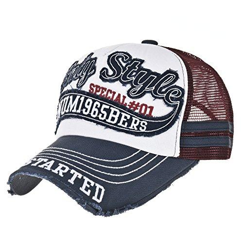 WITHMOONS Cappellini da baseball Cappello Vintage Baseball Cap Meshed Distressed Trucker Hat KR1251 (Navy)