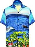 LA LEELA Pulsante ntage Surf Fino Camicie hawaiane per Gli Uomini drt052 Blu Royal 226 XL