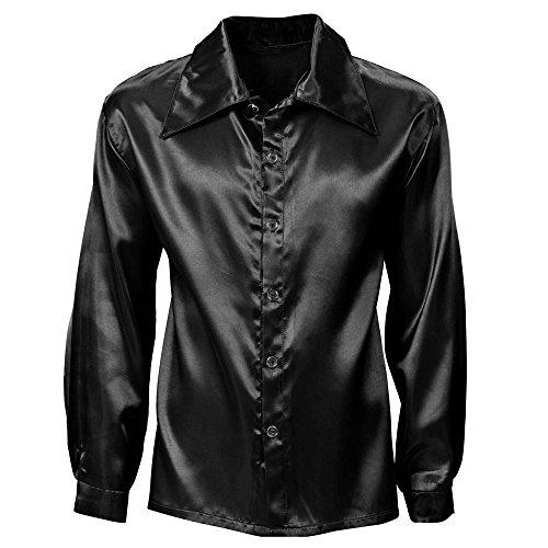 WIDMANN WDM9549D - Costume Per Adulti Camicia Disco Anni 70 in Raso, Nera, XL