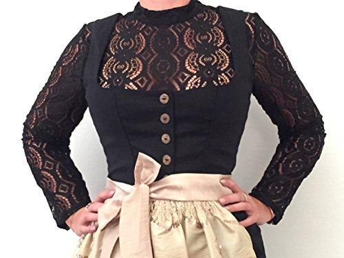 Bluse, Dirndlbluse, Kann auch ohne Dirndl getragen werden, schwarz, Gr. M/L, 36/38, Spitze, lange Ärmel, super modern, tolles Geschenk, kurze Bluse, extravagant, Tracht, (Fashion Trachten Vintage)