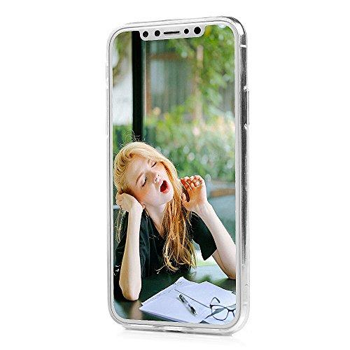 iPhone X Hülle Badalink Gemalt IMD TPU Case Cover Ultraslim Handyhülle Schutzhülle Silikon Bumper Schutz Tasche Schale Transparent Antikratz Backcover?Pinguin Feder