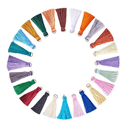 NBEADS 78 Stücke verschiedene Farben seidig handgemachte kleine weiche Quasten mit Loops für Schlüsselanhänger Handy Straps DIY Zubehör