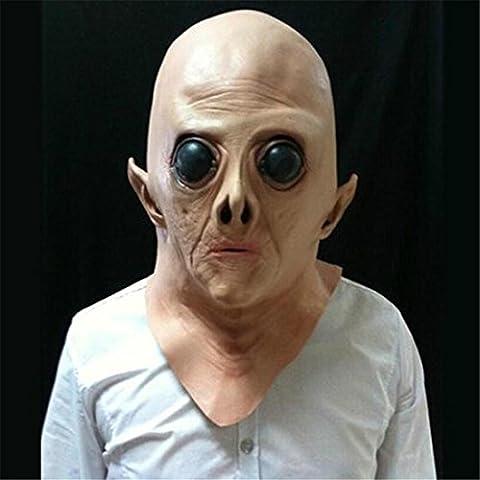 JJH-ENTER Masque De luxe Nouveauté Halloween Costume Fête Latex Lumineux Alien Head Masque
