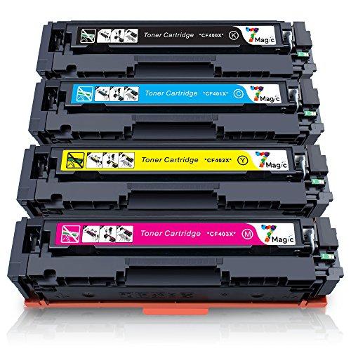 HP 201X 201A Kompatibel, 7Magic Toner Patronen HP 201X 201A kompatibel für HP Color LaserJet Pro MFP M252dw M252n M274n M277dw M277n CF400X CF401X CF402X CF403X CF400A CF401A CF402A CF403A Drucker (1 Schwarz, 1 Cyan, 1 Magenta, 1 Gelb)
