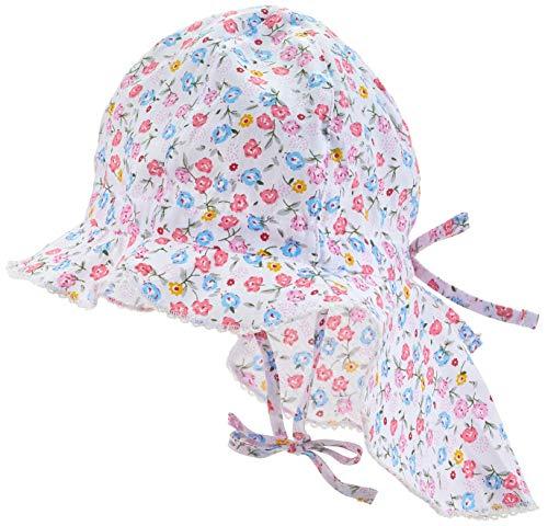 maximo Baby-Mädchen Flapper, Nackenschutz Mütze, Mehrfarbig (Weiss/Multicolor-Blumen 199), 49