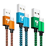 Micro USB Cables 2m/6.6ft Rephoenix Android Cable (3 Pack) Nylon Braided USB Cable