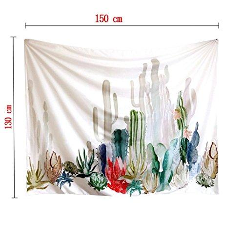 Tapisserie Wandteppich Wandkunst ,Jaminy Neu Wand Badetuch Natürliche Kaktus Gobelin Wand hanging Bohemian Hippie Wurf Decke Home Decor Wandbehang (150cm x 130cm)