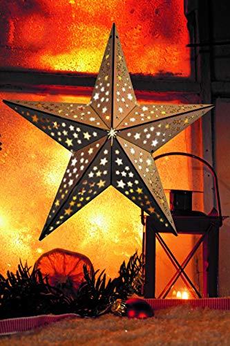 LED Stern aus Holz | mit 10 LED´s beleuchtet | kabellos | inkl. Fernbedienung | 40 cm oder 52 cm | verschiedene Muster | Fensterstern | Holzstern | Weihnachtsdekoration | Adventsstern (40cm Sternoptik)