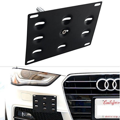 Dewhel JDM Front Bumper Tow Hook License Plate Mount Bracket Holder Audi A4/S4 09-14 B8 by Dewhel (Hook Tow Audi)