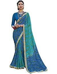 Vastrang Sarees Women's Georgette Bandhani Saree With Blouse Piece - CHN32415_Blue_Free Size