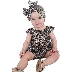 Covermason Bebé Unisex Leopardo Impresión Mono y Diademas