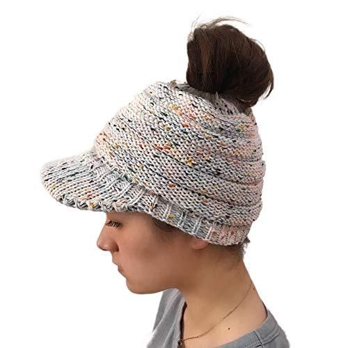 Fuibo Strickmützen für Herren und Dame, Frauen im Freien Gestrickte Hüte häkeln Multicolor Knit Hip-Hop Cap Wolle Peak Cap | Kappen für Winter Stricken Outdoors Ski Beanie (Weiß)