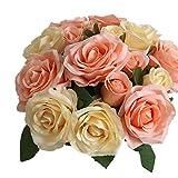 Fiori Finti,Centrotavola Matrimonio Fiori Artificiali Bouquet Fiori Giganti 8 Teste di Rose Composizioni Floreali Nozze Decorazioni per Casa Cucina Giardino Festa
