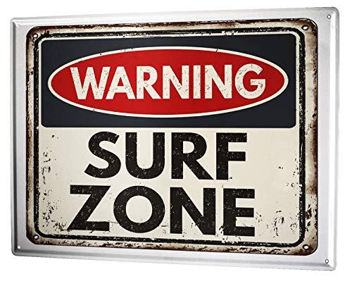 LEotiE SINCE 2004 Blechschild Wandschild 30x40 cm Vintage Retro Metallschild Retro Surf Zone (Surf-kuchen-dekorationen)
