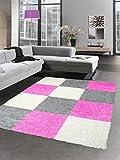 Carpetia Shaggy Teppich Hochflor Langflor Bettvorleger Wohnzimmer Teppich Läufer Karo pink rosa grau Creme Größe 60x110 cm