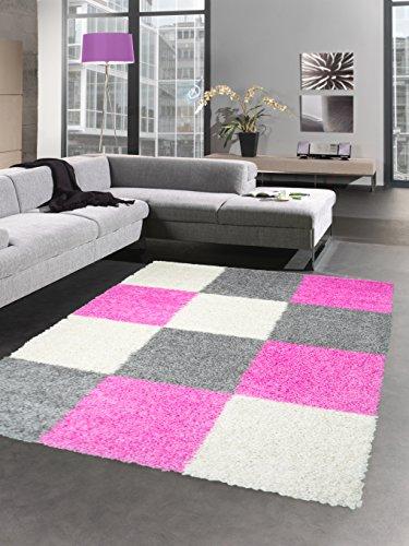 (Carpetia Shaggy Teppich Hochflor Langflor Bettvorleger Wohnzimmer Teppich Läufer Karo pink rosa grau Creme Größe 120x170 cm)