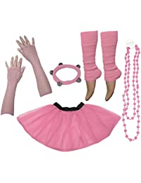 A-Express® Neon Tutu Skirt Legwarmer Beads Gloves Hen Fancy Dress Party Costumes Set