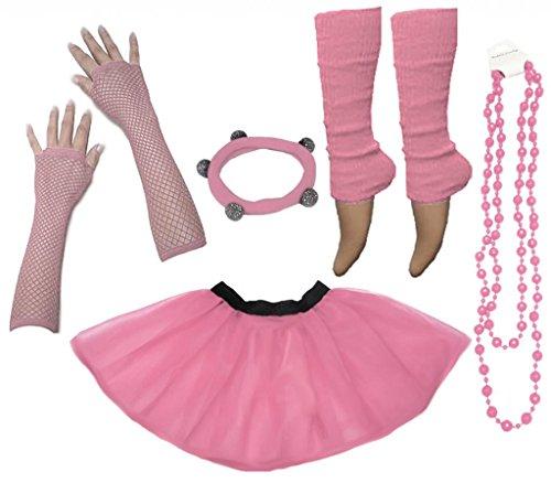 A-Express Frauen kostüm 80er Jahre Neon Tutu Beinstulpen Fischnetz Handschuhe Tüllrock Karneval Tüll Damen Fluo Ballett Verkleidung Party Tutu Rock Kostüm Set (46-54, (Tutu Kostüm Frauen)