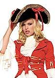 Leg Avenue 2099 - Piraten Hut Mit Goldborte, Schleifen Und Federn Damen Karneval Kostüm Fasching, Einheitsgröße