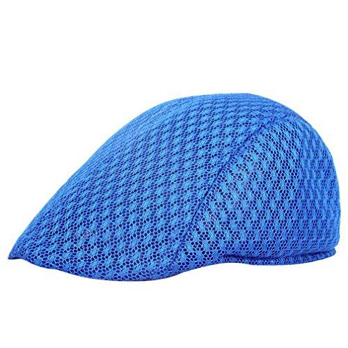ACVIP Unisexe Casquette Plate Forme Filet Chapeau Hat Voyage pour Homme Femme,7 Couleurs,Taille Unique Bleu