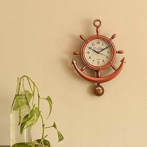 eCraftIndia Decorative Retro Anchor Plastic Pendulum Wall Clock (12 cm x 1 cm x 13 cm, Copper)