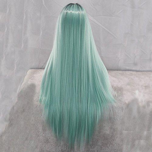 en Gerade mint grün Farbverlauf Ombre sysnthetic Perücken für cosplay Billig hochwertiges Echthaar Lange Perücke (Billig Lange Perücken)