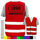 Warnweste Bedruckt mit Ihrem Name Text Bild Logo * echte Reflex-Leuchtstreifen * personalisiertes Design selbst gestalten, Farbe + Größe:Rot (M/L), Warnweste Druckposition:Rücken