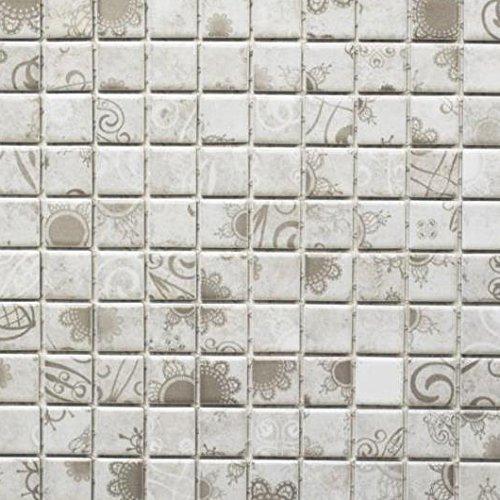 Retro Vintage Mosaik Fliese Keramik Grau Laceo Grey WB18D 1402 Für BODEN  WAND BAD WC DUSCHE KÜCHE FLIESENSPIEGEL THEKENVERKLEIDUNG  BADEWANNENVERKLEIDUNG