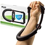 HerculesGrip Hand Wrist And Forearm Strengthener Grip Workout Equipment - Heavy Duty Carbon Steel Spring, Wide Design & Non-Slip Cushion, Increase Muscle Strength, Reduce Pain & Speed Up Recovery