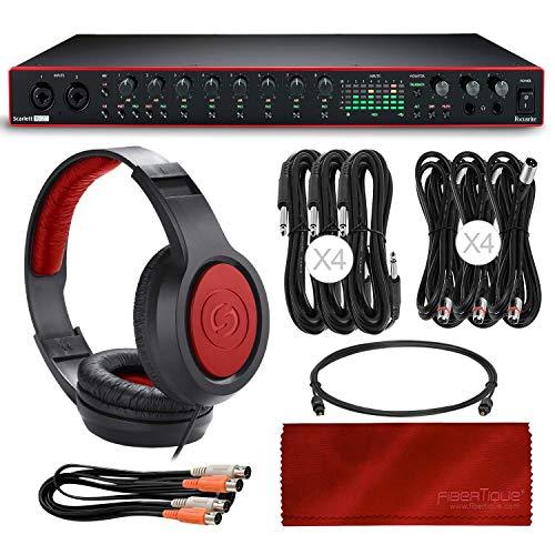 Scarlett 18i20 USB-Audio-Interface (3. Generation) + Samson SR360 Dynamic Over-Ear-Stereo-Kopfhörer, Kabel und Mikrofaser-Reinigungstuch -