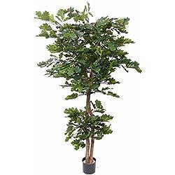 artplants Künstlicher Eichenbaum AJDIN, 2 Stämme, 75 Eicheln, 1050 grüne Blätter, 180 cm - Kunstbaum/Plastik Baum
