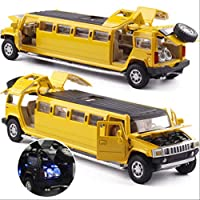 AHJSN Car model 1:32 Alloy Limousine Metal Diecast Car Model Pull Back Flashing Musical Kids Toy Vehicles Yellow