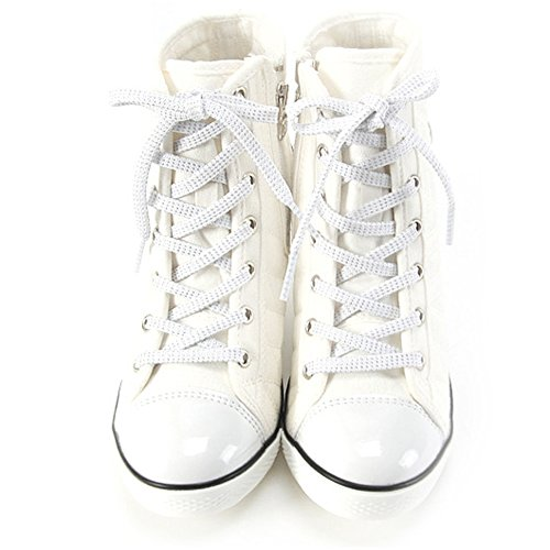 Compensées Baskets Heels Platform Sneakers High Top Bottines Chaussures GagHolly MADE IN KOREA white