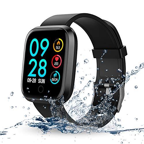 RIVERSONG Fitness Smartwatch IP67 Fitness Tracker mit Pulsmesser schrittzähler Herren Damen Kinder iOS Andriod (Schwarz) (Tracker Ios)