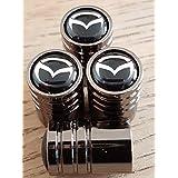 Mazda negro Top Titanio Gris–Caja de coche neumático válvula de polvo Caps Conjunto de cuatro todos los modelos Mazda3MX-5CX-5Mazda6Mazda2CX-3